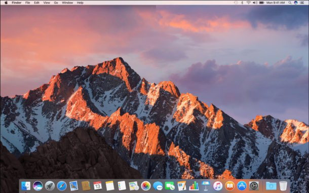 Schermata del desktop di MacOS Sierra
