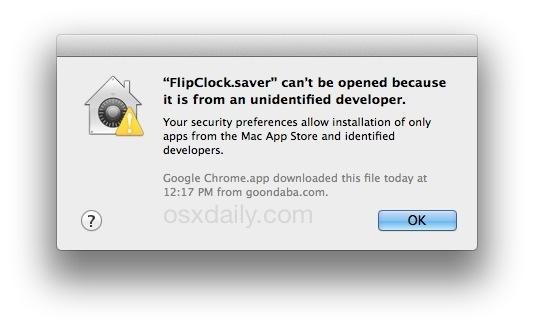 Impossibile installare screen saver in Mac OS X da parte di uno sviluppatore non identificato