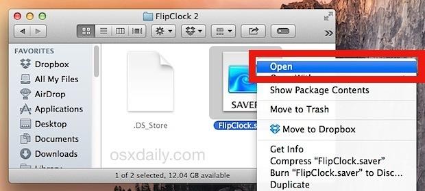 Installa uno screen saver in Mac OS X con il menu Apri