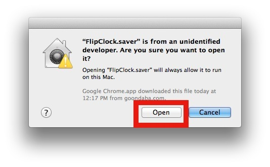 Lo sviluppatore non identificato di Screen Saver approva