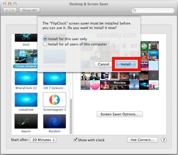 Installa uno screen saver su Mac OS X.