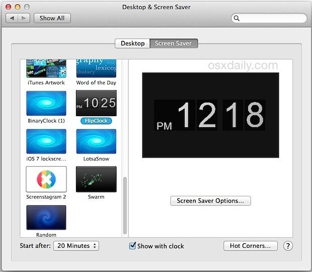 Aggiunto Screen Saver di terze parti in Mac OS X