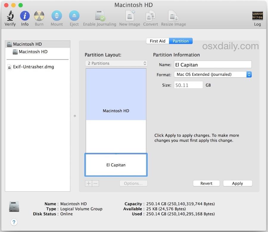 Crea una partizione per OS X El Capitan con doppio avvio sullo stesso disco rigido del Mac