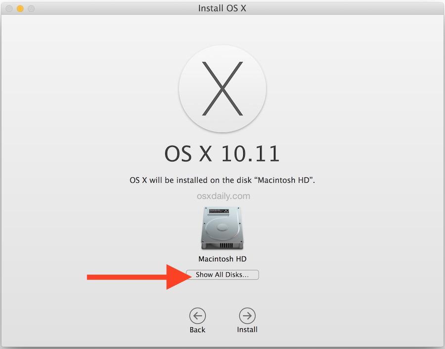 Mostra tutti i dischi per l'installazione di OS X su una partizione separata