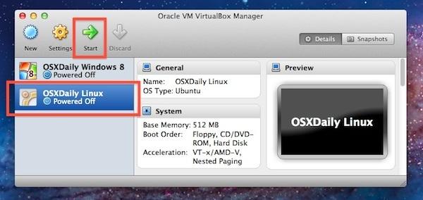 Avvia la macchina virtuale Ubuntu Linux in VirtualBox