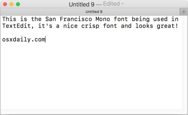 Font SF Mono in Mac OS