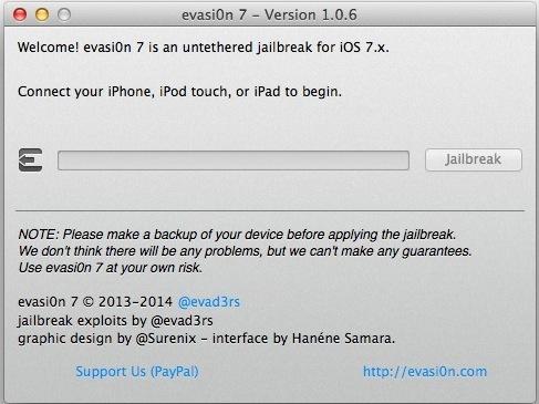 Evasi0n jailbreak per iOS 7.0.6