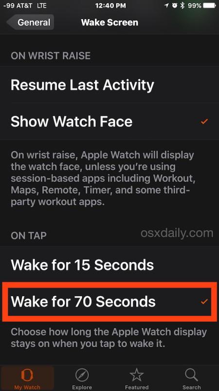 Cambia il tempo in cui il display di Apple Watch è attivo e attivo quando viene toccato
