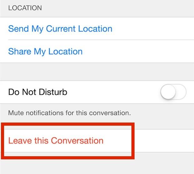Lascia questa conversazione per rimuovere te stesso da una chat di messaggi di gruppo