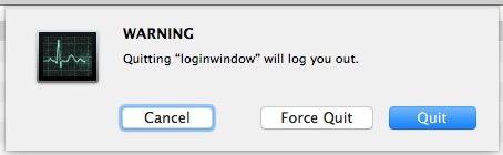 Chiudere la finestra di login per disconnettersi dall'utente o da solo