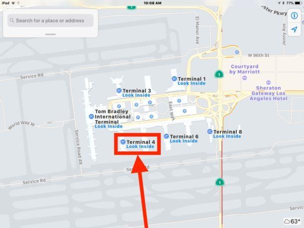 Tocca l'aeroporto Look Inside per spostarti dall'aeroporto in Apple Maps