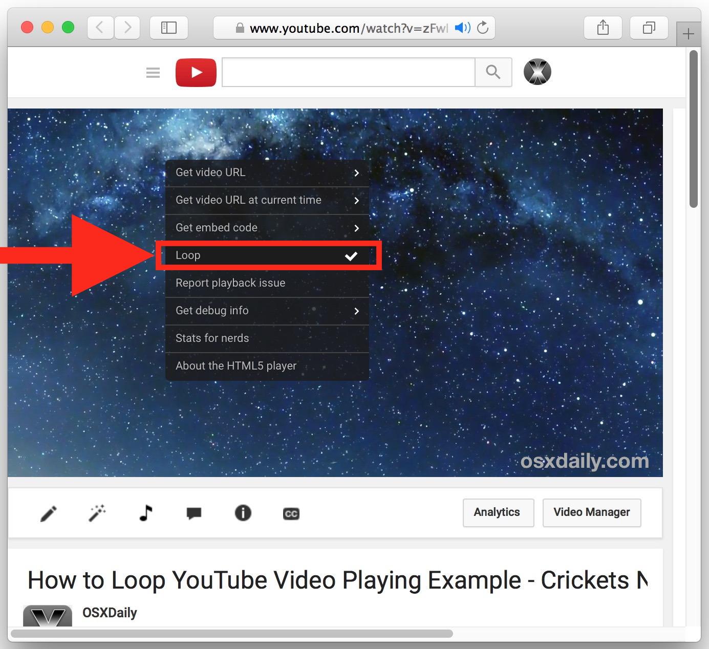 Come eseguire il loop di un video di YouTube