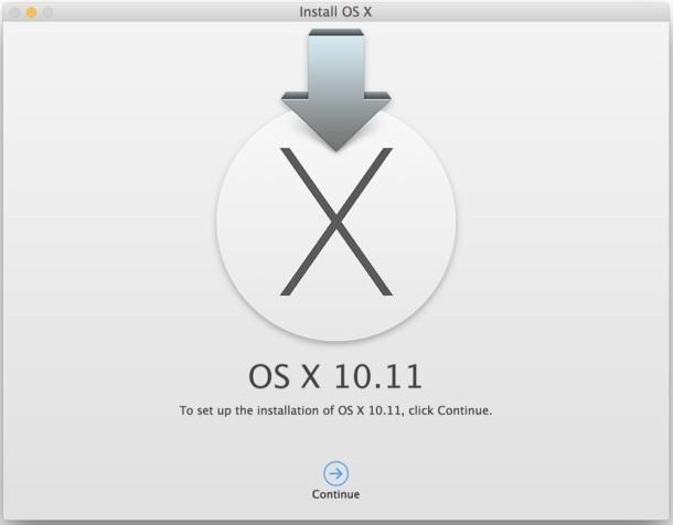 OS X El Capitan 10.11 Avvia l'unità di installazione
