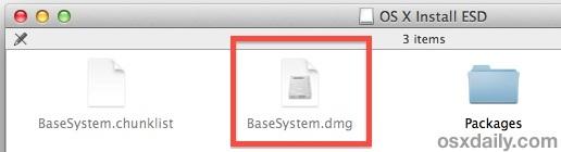 OS X Mavericks basesystem.dmg visibile