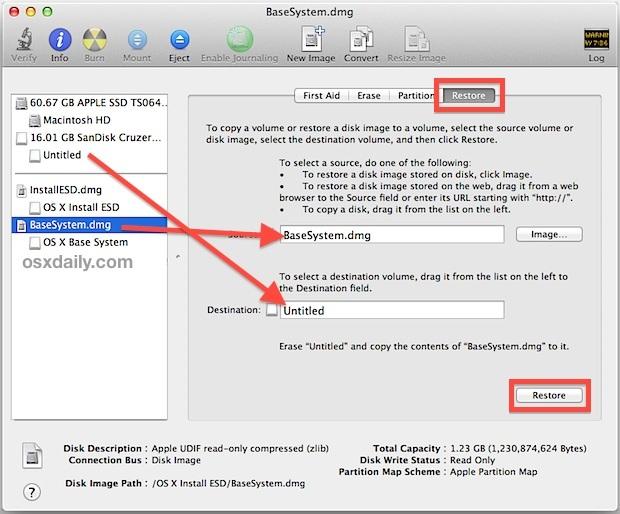 Creare l'unità di installazione boot di Mavericks per OS X.