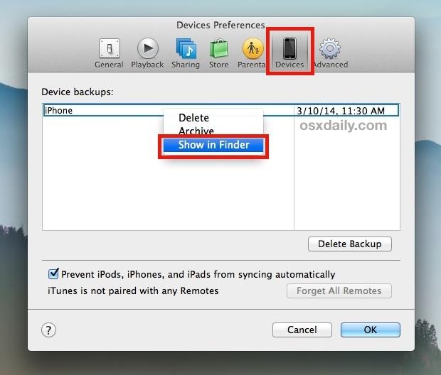 Vai alla posizione di backup di iPhone da iTunes