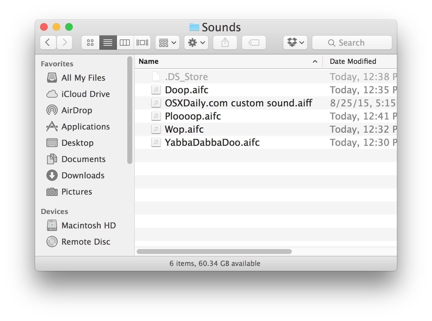 Accesso ai suoni di avviso di sistema effettuati dall'utente in Mac OS X