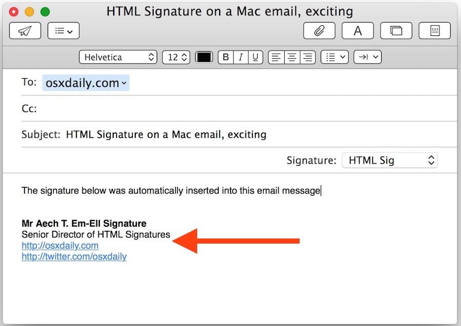 Firma HTML nell'app per Mac Mail di OS X