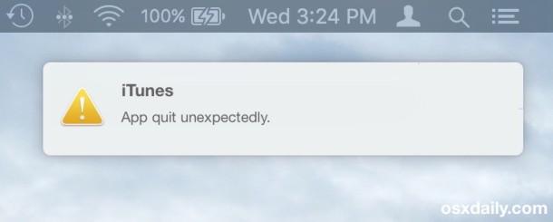 Reporter di arresto anomalo dell'app visualizzato come notifica in Mac OS X