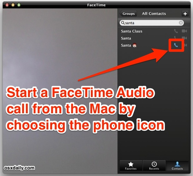 Avvia le chiamate audio FaceTime da un Mac