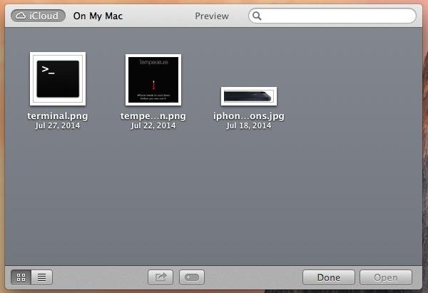Browser di file iCloud in OS X Mavericks