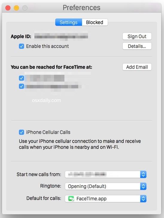 Abilitazione di chiamate cellulari iPhone su Mac