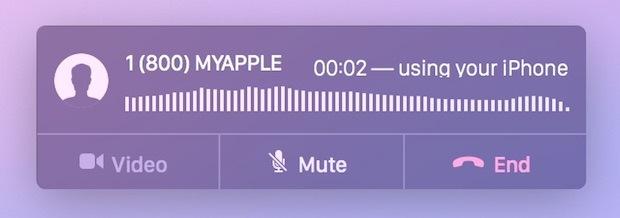 Effettuare una chiamata dal Mac tramite un iPhone visualizza questa finestra per interagire con la chiamata