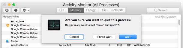 Uccidi il processo della barra di contatto per aggiornare Touch Bar