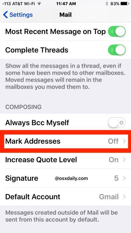 Contrassegna gli indirizzi in Mail per iOS