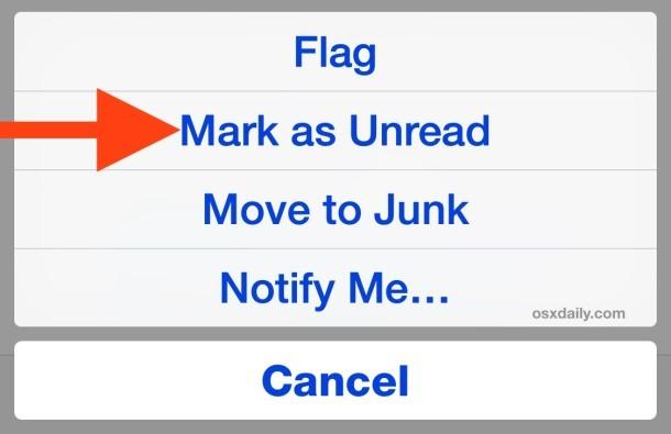 Contrassegna un'e-mail come non letta sull'app per iPhone Mail