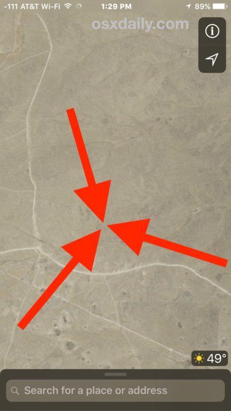 Tocca e tieni premuto per contrassegnare una posizione su Maps