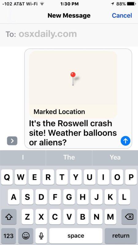 Condivisione di una posizione contrassegnata su Maps da iPhone
