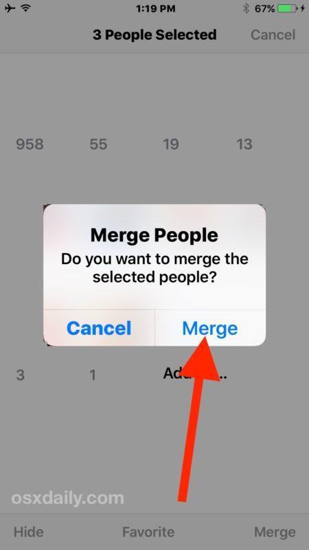 Conferma per unire i volti delle persone in iOS