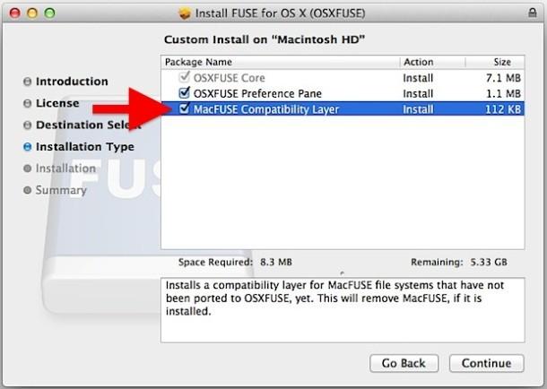 Installazione del supporto FUSE EXT per Mac OS X