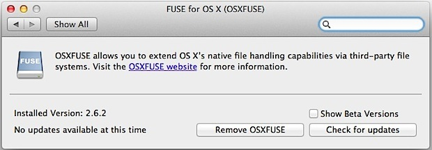 Supporto OS X FUSE EXT per il pannello delle preferenze del sistema Mac