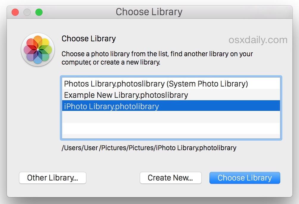 Seleziona una libreria iPhoto per spostarla nell'app Foto di OS X