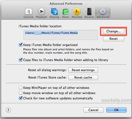 Modifica la posizione della libreria di iTunes