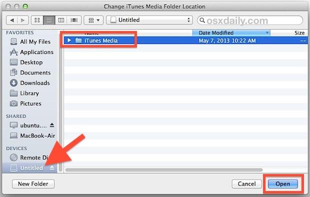 Seleziona il percorso della libreria iTunes esterna