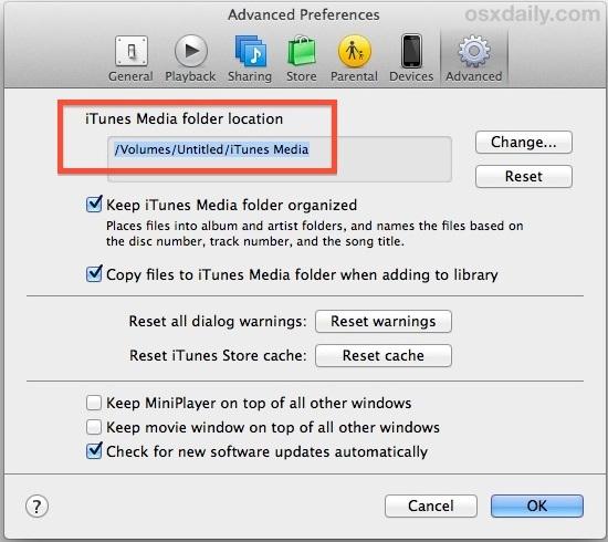 Libreria iTunes su un'unità esterna