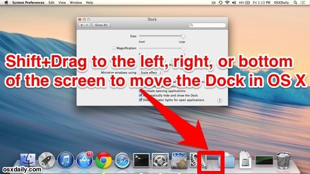 Cambia la posizione del Dock in Mac OS X