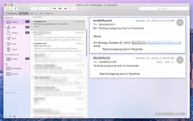 Navigazione della tastiera di posta in Mac OS X