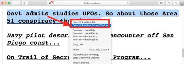 Apri il nuovo link nella finestra di navigazione privata