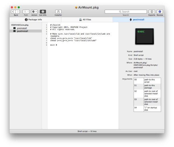 Aprire il file pkg del pacchetto Mac per vedere quali script verranno eseguiti