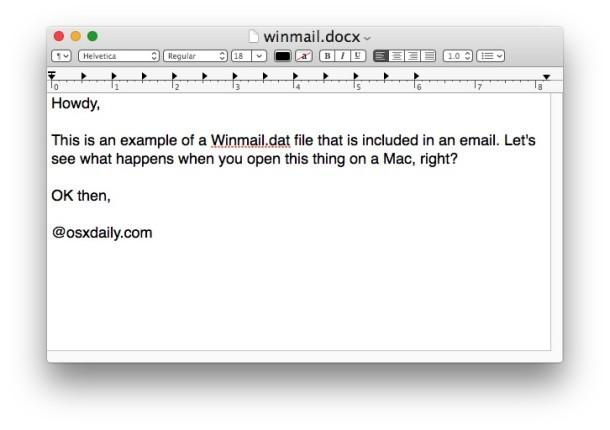 Un file allegato Winmail.dat aperto in Mac OS X