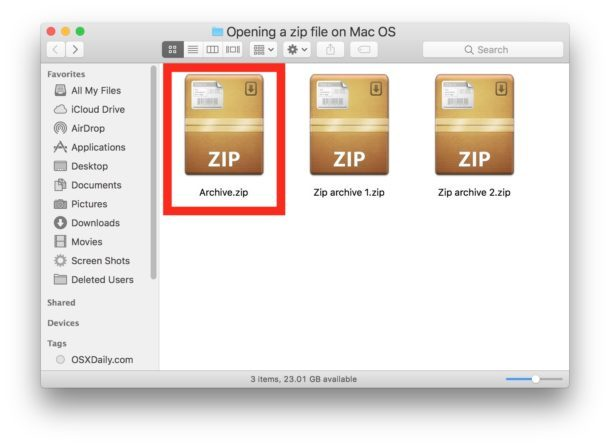 Apri il file zip su un Mac