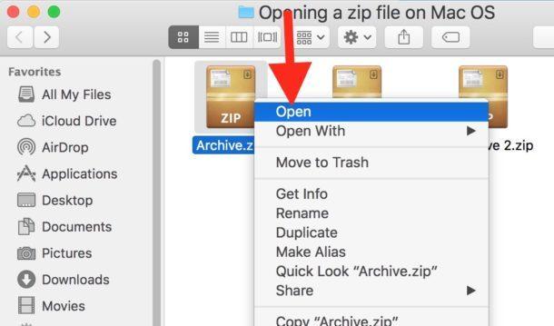 Fare clic con il tasto destro e selezionare Apri su un archivio Zip per aprirlo su Mac OS