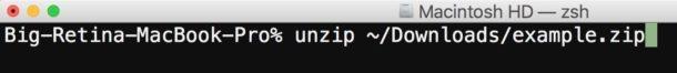 Decomprimere con la riga di comando su Mac OS