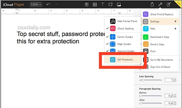 Imposta la password sul documento Pages in iCloud