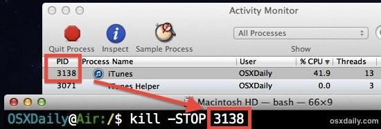 Interrompi un processo in Mac OS X