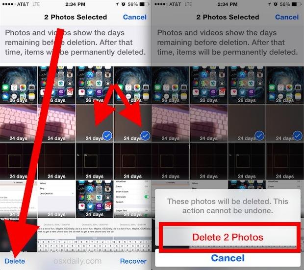 Elimina definitivamente le foto in iOS istantaneamente attraverso la vista Album
